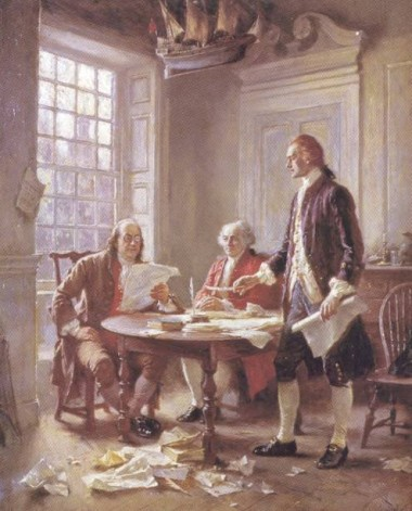 Franklin, Adams and Jefferson writing the Declaration of Independence 1776