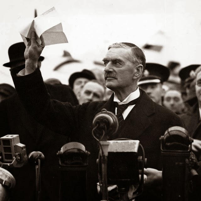 Prime Minister Chamberlain returns from his meeting with Herr Hitler with a Peace Agreement - 1938