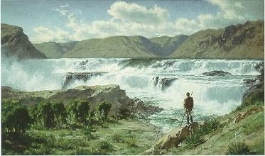 """""""The Arrival of Captain Lewis at the Great Falls of the Missouri June13, 2005""""  Charles Fritz"""