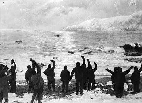 The Elephant Island survivors wave goodbye to the Shackleton and the James Caird crew on April 24, 2016.