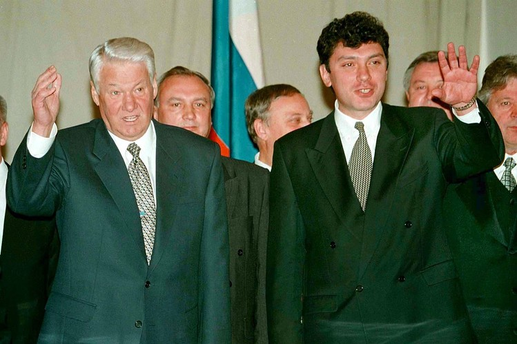 Russian President Boris Yeltsin and Vice Premier Boris Nemtsov