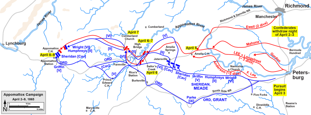 The Final Acts at Appomattox  April 4th-9th, 1865