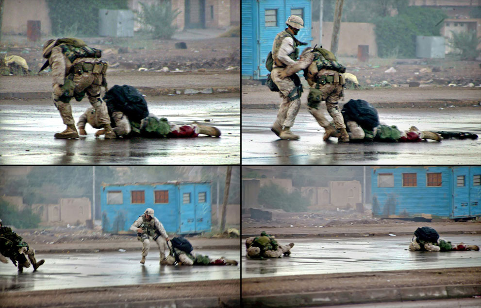 Gunnery Sergeant Ryan Shane shot while trying to rescue a wounded Marine in the Second Battle of Fallujah- 2004 photo by Cpl Joel Chaverri US Marine Corps