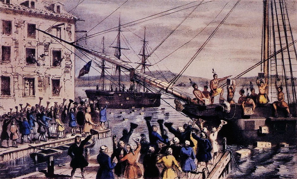 Boston Tea Party illustration by Currier